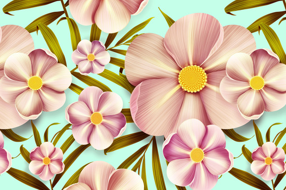 Tropical Anemone Flowers Seamless