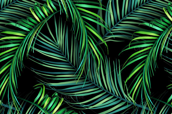 Jungle Palm Leaves Tropical Pattern