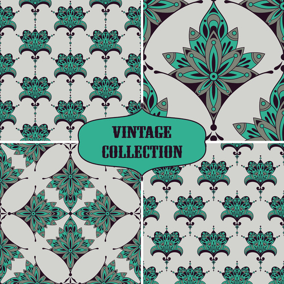 4 Vector Vintage Seamless Patterns