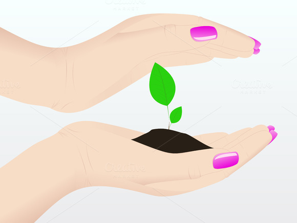 Holding A Plant Vector Illustration