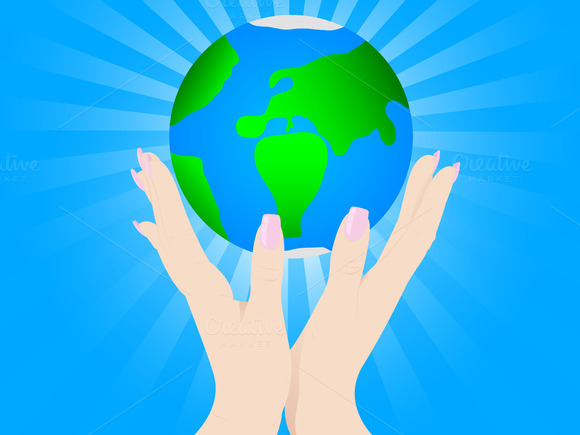 Hands Earth Vector Illustration
