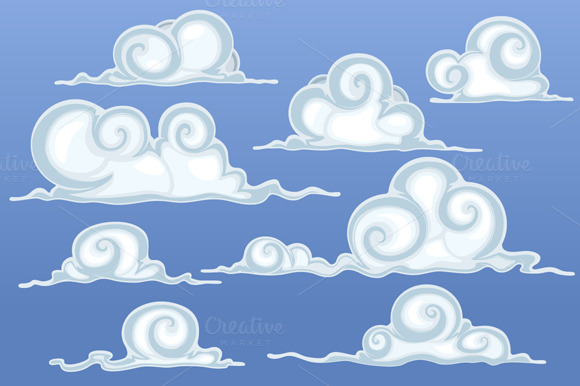 Beautiful Cartoon Clouds