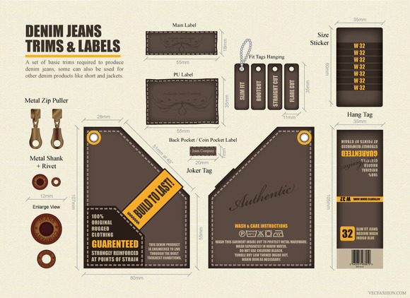 Denim Jeans Trims And Labels