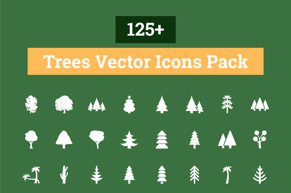 125 Trees Vector Icons Pack