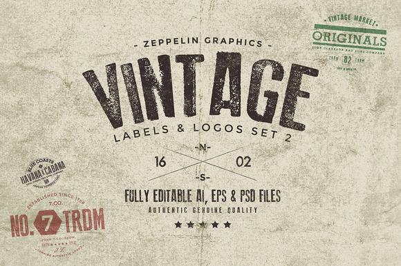 Vintage Badges Labels Set 2