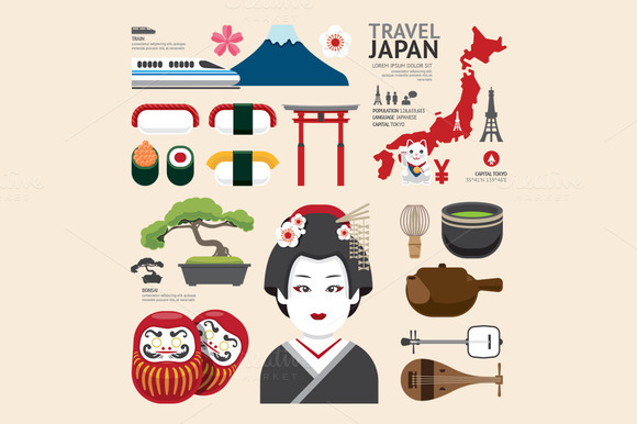 Japan Flat Icons Design Travel Conce