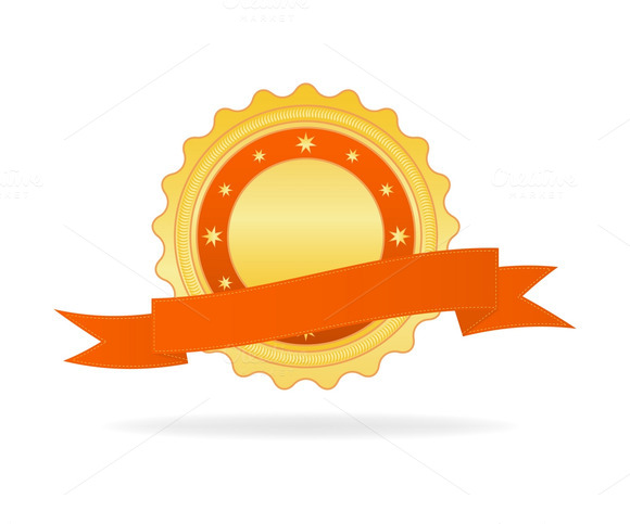 Vector Illustration Of Golden Badge