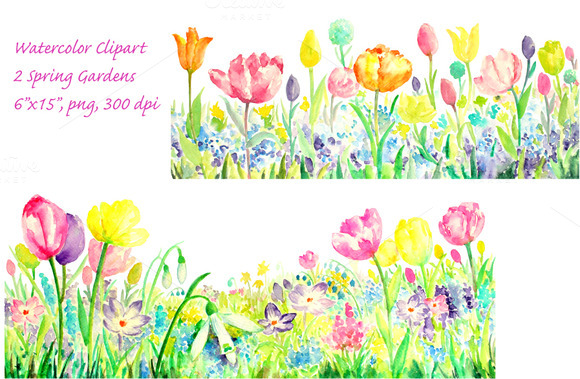 Watercolor Spring Gardens