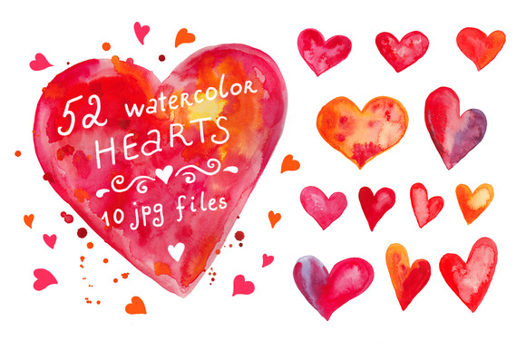 Watercolor Hearts Set #3