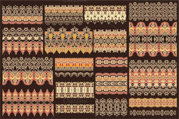Set Of Decorative Seamless Ribbons
