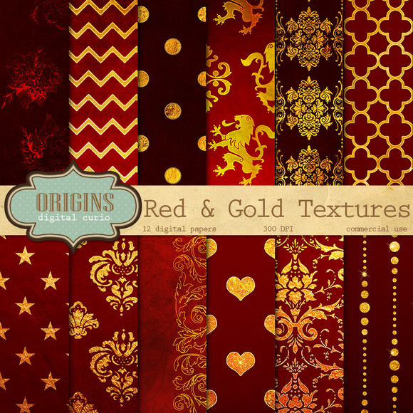 Red And Gold Textures Digital Paper