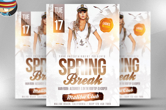 White Spring Break Flyer Template