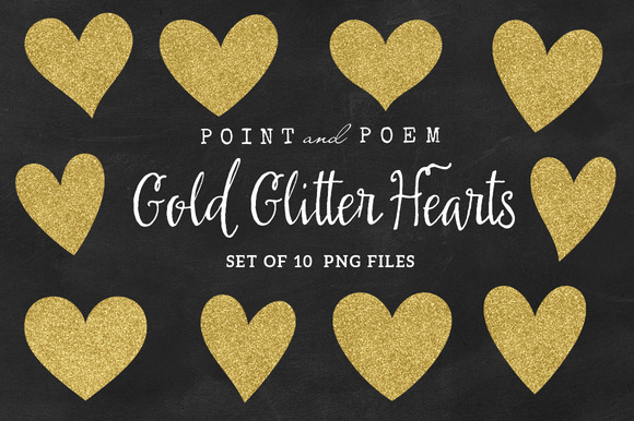 Gold Glitter Heart Clip Arts