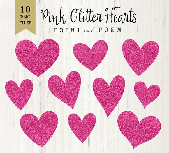 Pink Glitter Heart Clip Arts