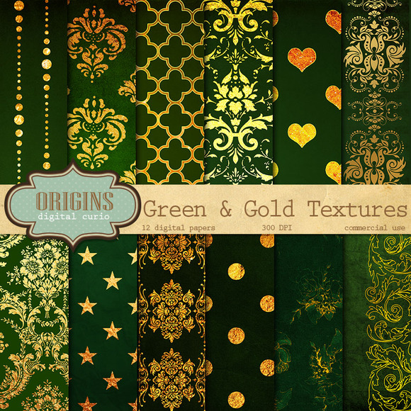 Green And Gold Texture Backgrounds