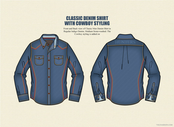 Classic Denim Shirt Vector