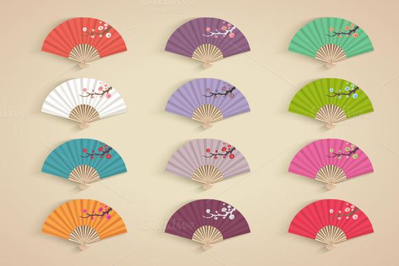 Set Of Decorative Folding Fans