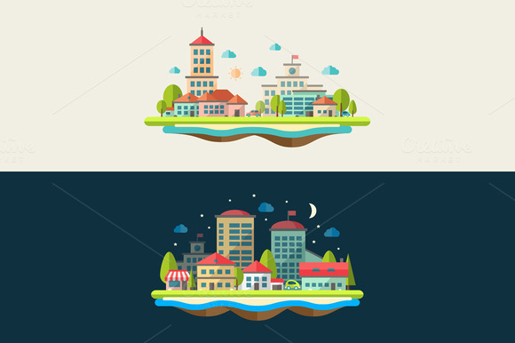 Flat Design Urban Landscapes