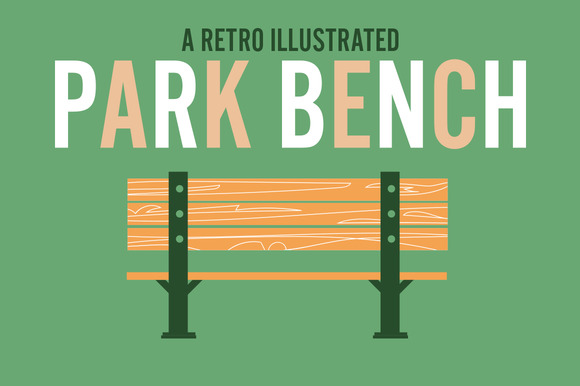 Retro Illustrated Park Bench