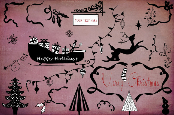 Hand Sketched Holiday Elements #1