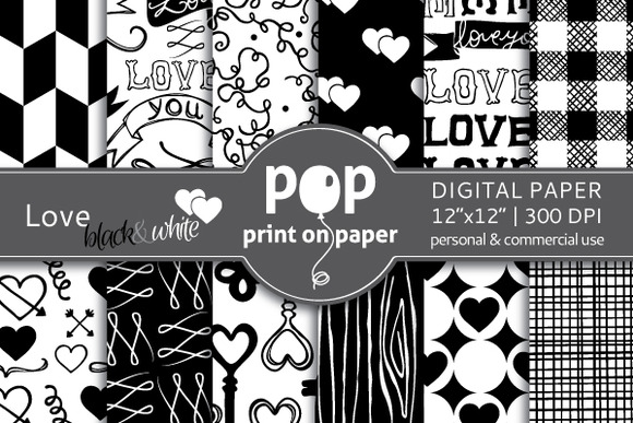 Love Black White Digital Paper