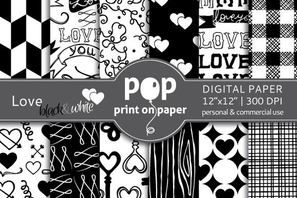 Love Black White Digital Paper