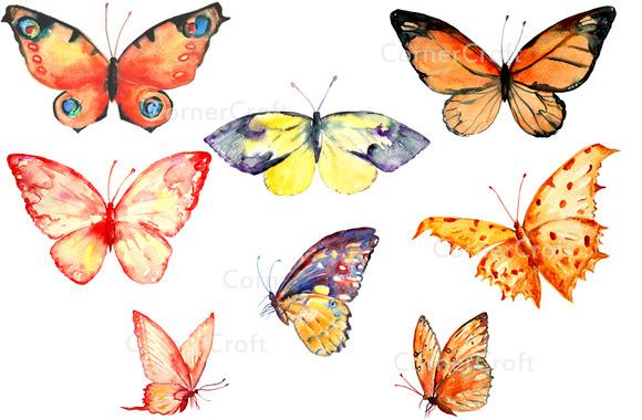 Watercolor Clip Art Butterflies