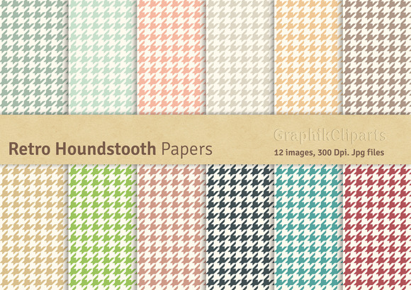 Retro Houndstooth Digital Papers