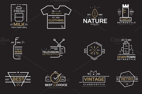 Vintage Label Badges Logos Bundle