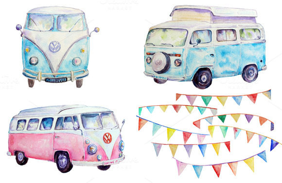 Watercolor Vw Camper Buntings