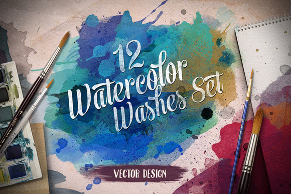 12 Watercolor Washes