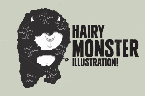 Hairy Monster Illustration