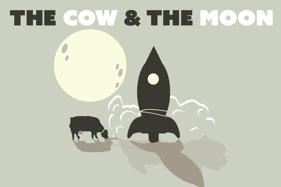 Retro Space Cow And The Moon