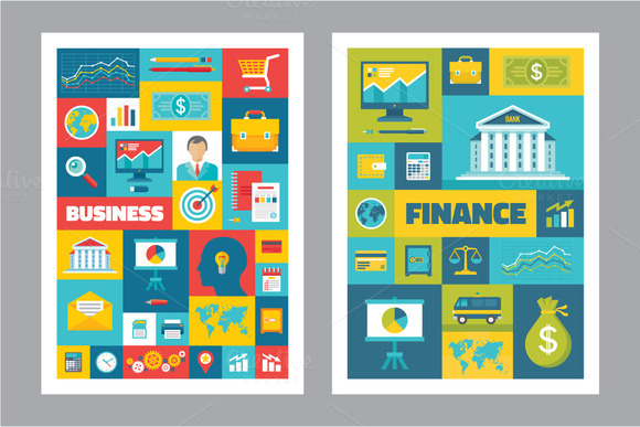 Business Finance Flat Posters