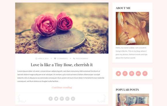Zara Mini Personal Wordpress Blog