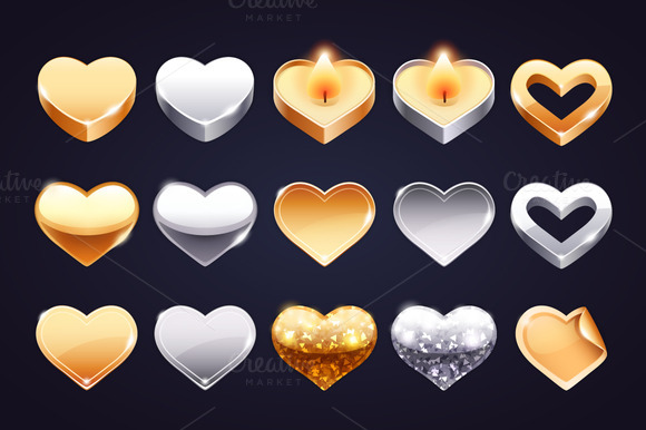 Set Of Golden And Silver Hearts