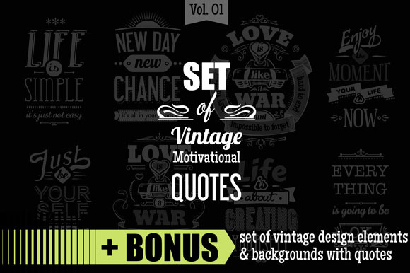 Set Of Vintage Quotes