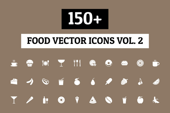 150 Food Vector Icons Vol 2