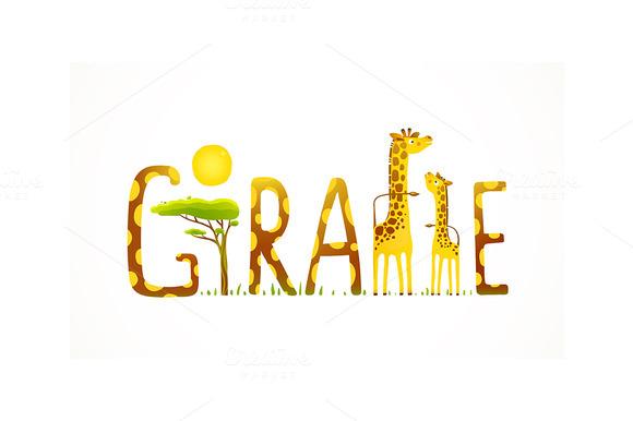Giraffe Animals Fun Lettering