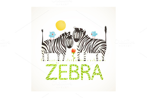 African Zebra Animals Cartoon