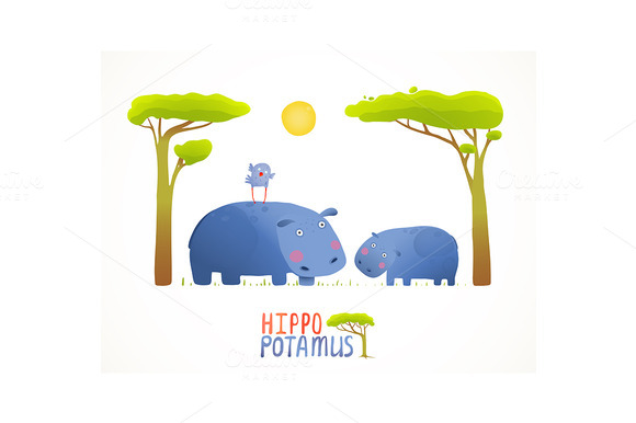 Cartoon Mother And Kid Hippopotamus