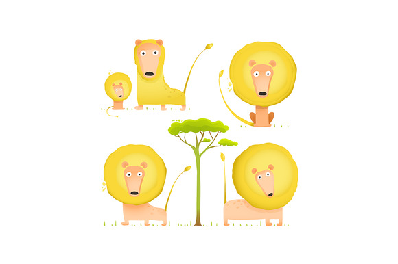Lion Family Cartoon Mom Dad Kid