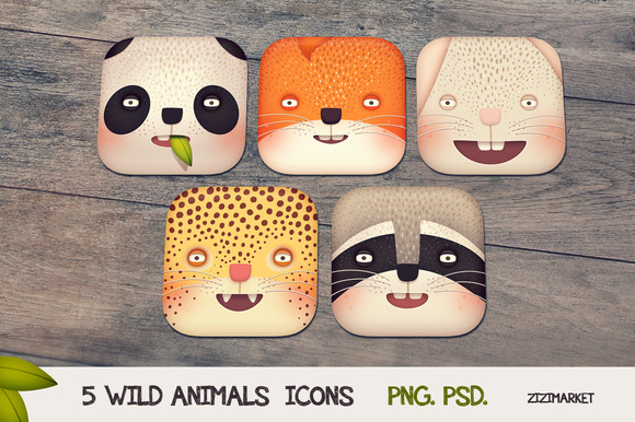 5 Wild Animals IOS App Icons