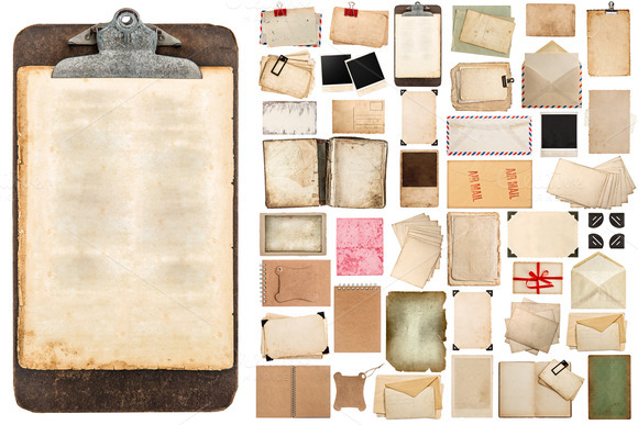 Aged Paper Sheets And Clipboard