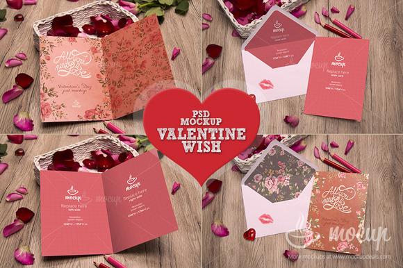 2 PSD Valentine Wish Mockup