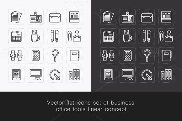 Vector Flat Icons Set Of Business