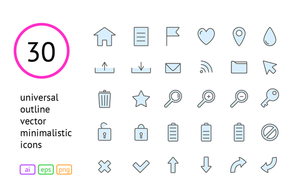 Universal Outline Vector Icons