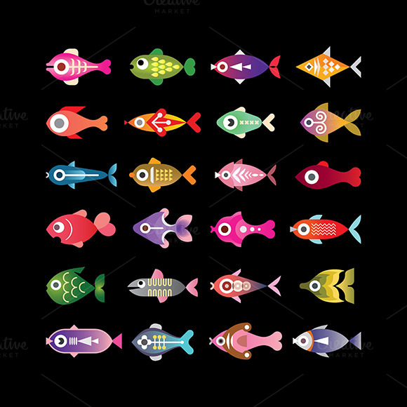 Fish Vector Colorful Icons