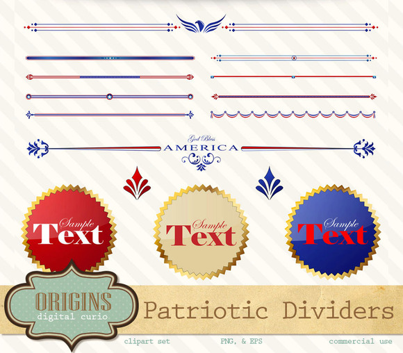 Patriotic Page Text Dividers