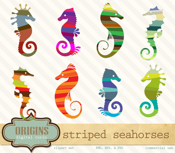 Striped Seahorses PNG And Vector Cli
